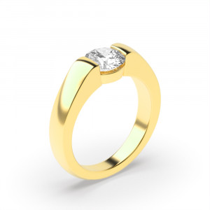 Round 0.30 VS1 G ABELINI 18K Yellow Gold Brilliant Cut Round Solitaire Diamond Engagement Ring Style for Women