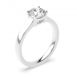 Round 0.50 I1 I ABELINI 950 Platinum 4 Prong Solitaire Engagement Rings UK White Gold / Platinum Rings for Women