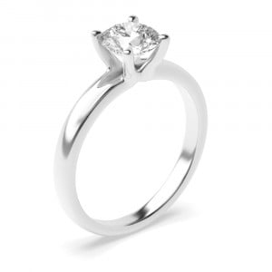 4 Claw Set Round Cut Diamond Solitaire Engagement Rings Platinum