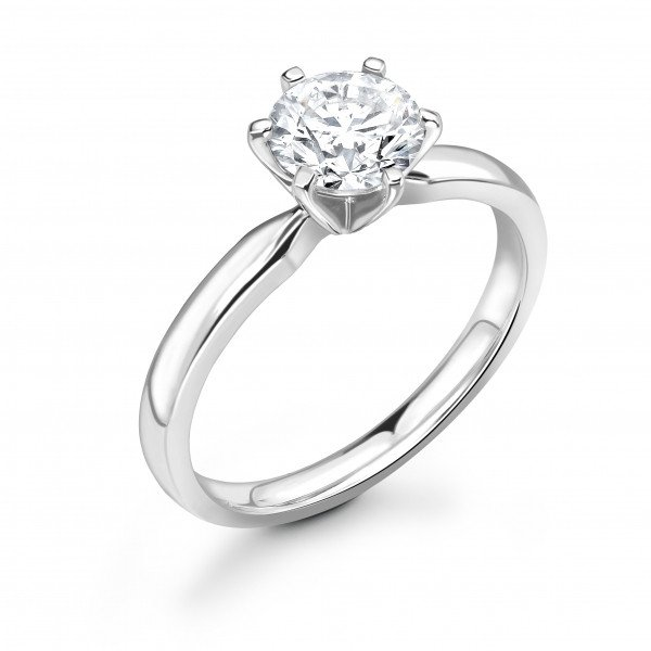 Classic Square 6 Claws Setting Solitaire Diamond Engagement Rings