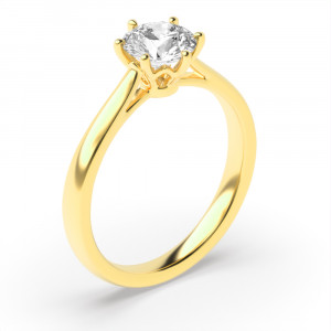 Round 0.50 I1 I ABELINI 9K Yellow Gold Round Brilliant Cut Diamond Ring for Engagements In Gold / Platinum