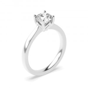 Solid Shoulder Flower Petal Setting Style Solitaire Diamond Engagement Rings