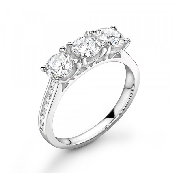High Setting Diamond Trilogy Engagement Rings with Diamonds on Shoulder