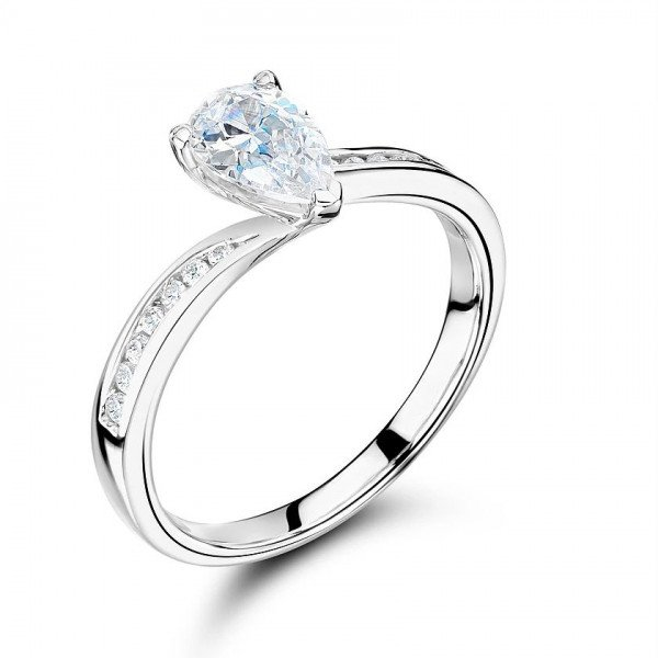 Pear Shape Side Stone On Shoulder Set Accented Diamond Engagement Ring