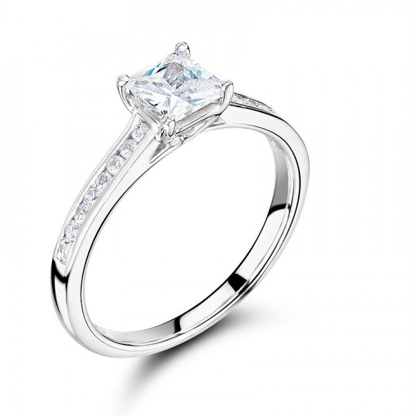 Princess Cut Side Stone On Shoulder Set Accented Diamond Engagement Ring In Gold