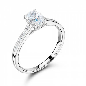 Oval Cut Side Stone On Shoulder Set Accented Diamond Engagement Ring Uk