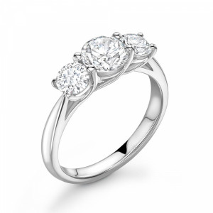 Round 1.25 SI H-I ABELINI 18K White Gold Cross Over Prongs Setting Round Diamond Trilogy Engagement Rings