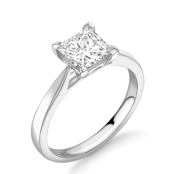 4 Prong Setting Princess Shape Solitaire Diamond Engagement Rings for Women