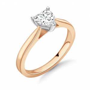 Heart 0.70 SI2 E ABELINI 9K Rose Gold Round Diamond Engagement Ring Solitaire White / Rose Gold & Platinum