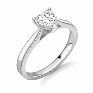 Heart 0.70 SI2 D ABELINI 9K White Gold Round Diamond Engagement Ring Solitaire White / Rose Gold & Platinum