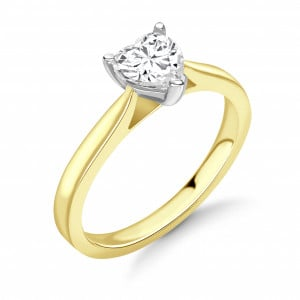 Heart 0.70 SI2 E ABELINI 9K Yellow Gold Round Diamond Engagement Ring Solitaire White / Rose Gold & Platinum