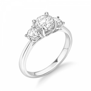Round 1.25 SI H-I ABELINI 18K White Gold 4 Prong Setting Round Diamond Trilogy Engagement Rings UK