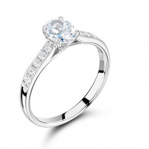 Side Stone On Shoulder Set Accented Oval Diamond Engagement Ring