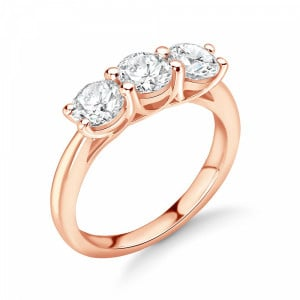 Round 1.25 VS H-I ABELINI 9K Rose Gold Cross Over Claws Three Equal Diamonds Trilogy Engagement Rings