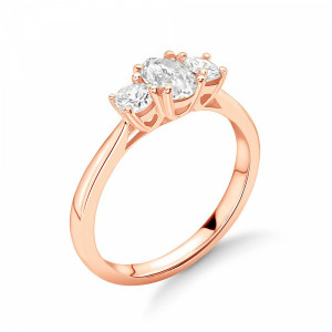 Oval/Round 1.25 I1 H-I ABELINI 18K Rose Gold Oval in Centre and Round Side Diamond Trilogy Engagement Rings
