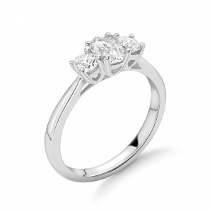Oval in Centre and Round Side Diamond Trilogy Engagement Rings