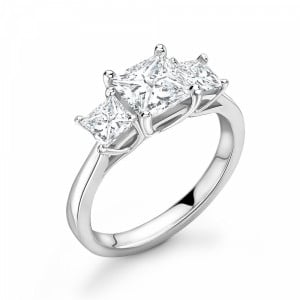 Princess 1.25 VS D-E ABELINI 9K White Gold 4 Prong Princess Cut Diamond Three Stone Engagement Rings