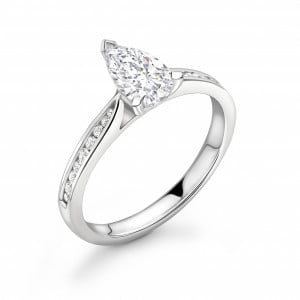 Pear Shape with Tapering Shoulder with Diamond Set Engagement Rings