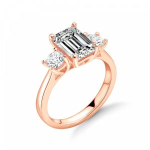Emeral and Round Diamond Trilogy Engagement Rings for Women