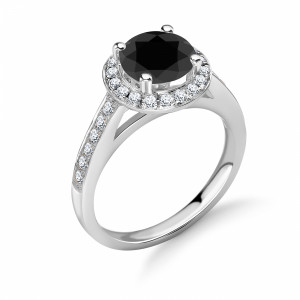 Delicate and Simple Halo Black Diamond Engagement Rings