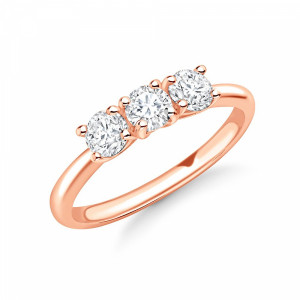 Round 1.25 VS H-I ABELINI 9K Rose Gold Delicate Round Brilliant Diamond Trilogy Engagement Rings