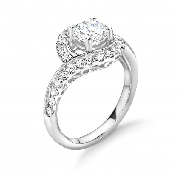 4 Prong Setting Round Shape Cross Over Shoulder Vintage Style Halo Diamond Engagement Rings
