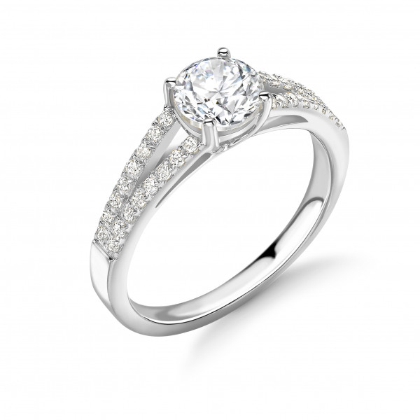 Two Row Shoulder Side Stone Diamond Engagement Rings