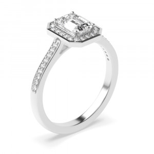 4 Prong Setting Radiant Shape Delicate Halo Diamond Engagement Rings