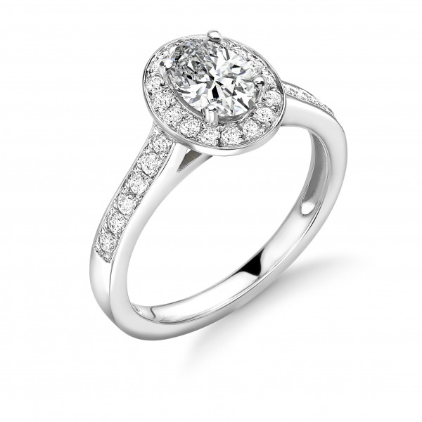 4 Prong Setting Oval Shape Delicate Halo Diamond Engagement Rings