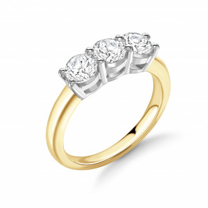 Classic Round Cut Diamond Trilogy Engagement Rings