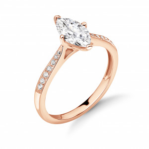 Marquise Shape with Tapering Shoulder with Diamond Set Engagement Rings