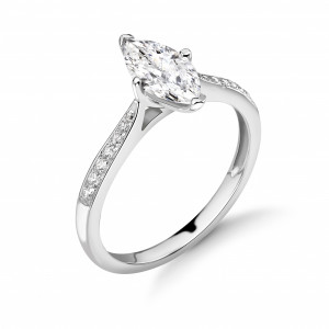 Marquise 0.40 I1 H ABELINI 950 Platinum Marquise Shape with Tapering Shoulder with Diamond Set Engagement Rings