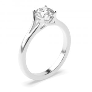 Modern Split Band on Shoulder solitaire Diamond Engagement Rings