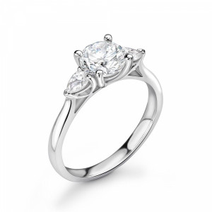 Round/Pear 1.25 I1 D-E ABELINI 9K White Gold Popular Style Round & Pear Shape Trilogy Diamond Engagement Rings
