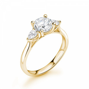 Round/Pear 1.25 I1 F-G ABELINI 18K Yellow Gold Popular Style Round & Pear Shape Trilogy Diamond Engagement Rings
