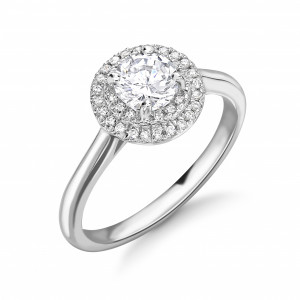 Round Shape two Row Plain Shoulder Halo Lab Grown Diamond Engagement Rings