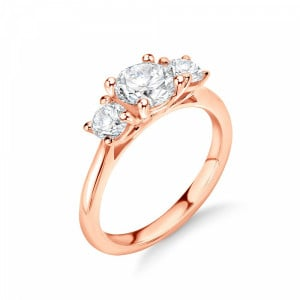 Graduating Round Diamond Trilogy Engagement Rings in UK
