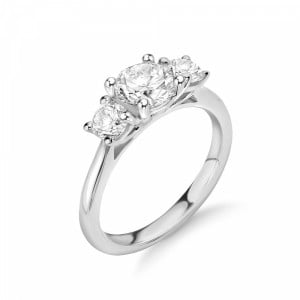Round 1.25 SI H-I ABELINI 18K White Gold Graduating Round Diamond Trilogy Engagement Rings in UK