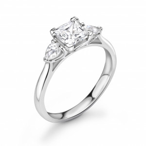 Princess/Pear 1.50 SI F-G ABELINI 950 Platinum Princess & Pear Diamond Trilogy Engagement Rings for Women