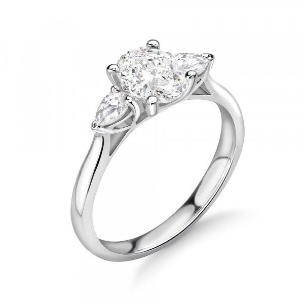4 Prong Oval and Pear Diamond Trilogy Engagement Rings on Sale