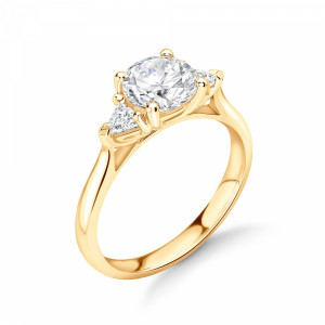 Round/Trillion 1.15 VVS F-G ABELINI 18K Yellow Gold Round and Trillion Shape Diamond Trilogy Engagement Rings