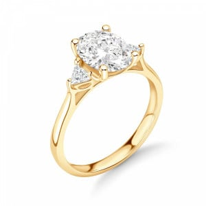 Oval and Trillion Shape Diamond Trilogy Engagement Rings