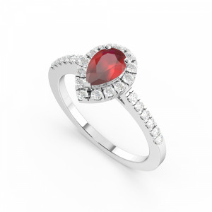 4 Prong Setting Pear Shape  Halo Ruby Engagement Rings