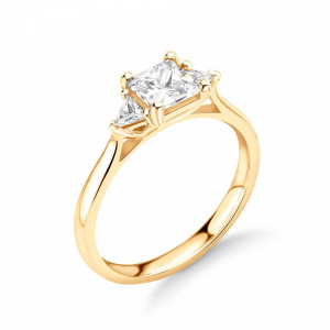 Princess/Trillion 1.25 SI D-E ABELINI 18K Yellow Gold Princess and Trillion Diamond Three Stone Engagement Rings