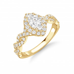 4 Prong Setting Marquise Shape Twist Crossing Shoulder Halo Diamond Engagement Rings