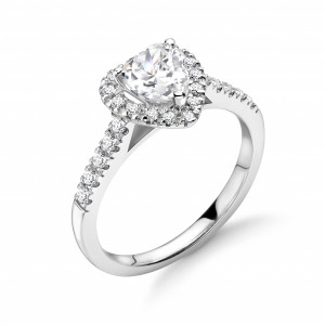 Prong Setting Heart Shape Classic Popular Halo Diamond Engagement Rings