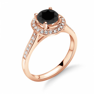 Raised Shoulder Pave Setting Engagement Ring with Black Diamond