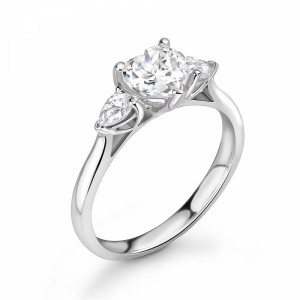 Heart & Pear Cut Trilogy Diamond Engagement Rings for Women