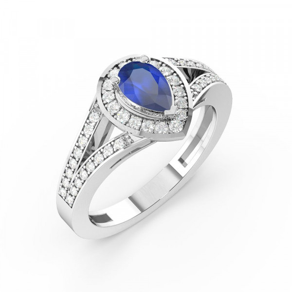 Prong Setting Pear Shape 2 Raw Shoulder Halo Blue Sapphire Engagement Rings