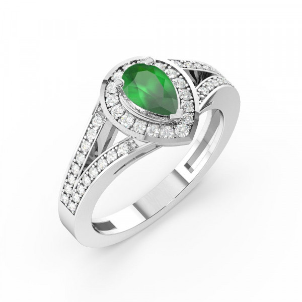 Prong Setting Pear Shape 2 Row Shoulder Halo Emerald Engagement Rings